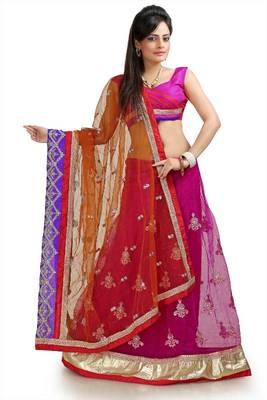Magenta and mustard net lehenga style saree with unstitched blouse  (bwd932)