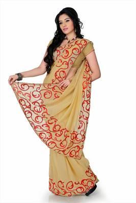Beige faux georgette saree with unstitched blouse (cnc1173)