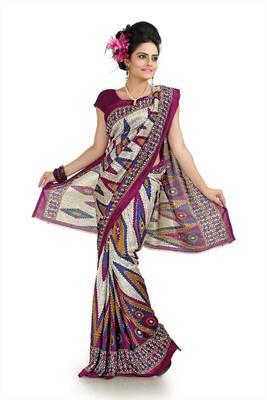 Cream and wine khadi silk saree with unstitched blouse (flk1022)