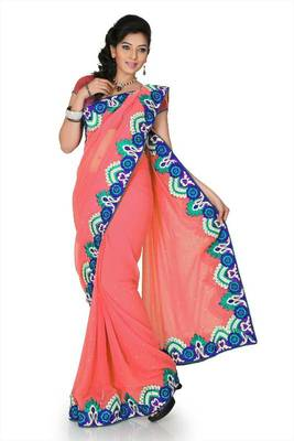 Onion pink chiffon saree with unstitched blouse (cnc1198)