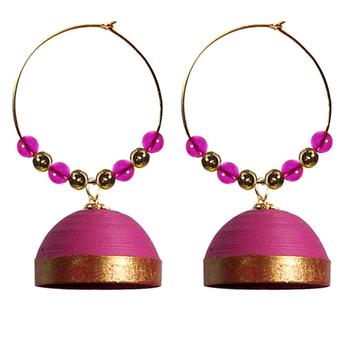 Pink hoops quilled jhumkas