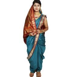 Buy Green plain cotton silk nauvari saree nauvari-saree online