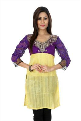 Yellow and purple bhagalpuri silk readymade kurti (k32)