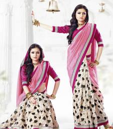 Buy Pink embroidered bhagalpuri silk saree with blouse bhagalpuri-silk-saree online