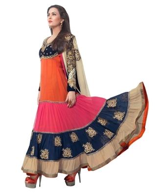 Triveni Miraculous Multi Colored Wedding Wear Semistitched Long Anarkali TSANSK7001