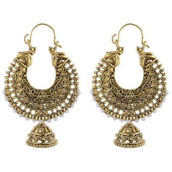 Golden Pearl Beads Hoop Earrings