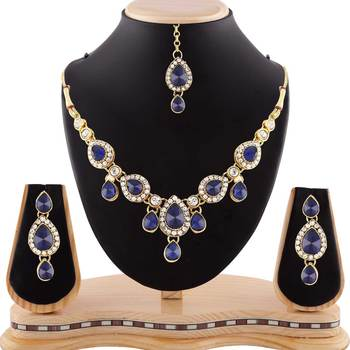 Gracefull Design Blue Austrian Stone Gold Finishing Necklace Set with Maang Tikka