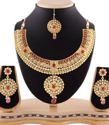 Buy Excellent Austrian Stone Gold Finigshing Necklace Set with Maang Tikka necklace-set online