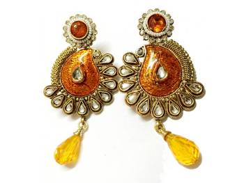 Craftstages Orange Traditional Kundan work Earrings