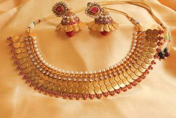 GORGEOUS ROYAL MAROON RUBY 2 ROW COIN NECKLACE SET