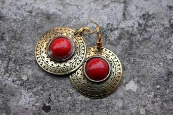 Red Brass Earrings