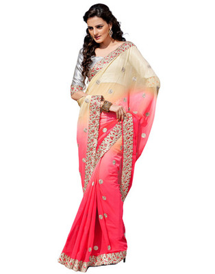 Beige Colored Chiffon Embroidered Saree