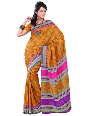 Yellow Colored Raw Silk Printed Saree