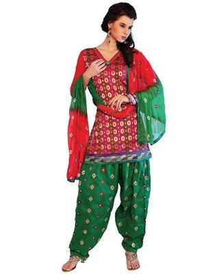 Red Colored Banarasi Silk Embroidered Salwar Kameez