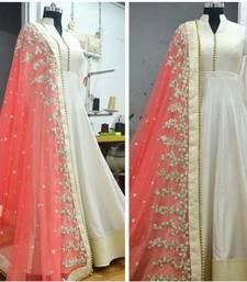 Buy White bhagalpuri silk embroidered semi stitched salwar with dupatta anarkali-salwar-kameez online