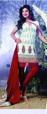 Spun Cotton Lacer Salwar Kameez Churidar Dress Meterial SC1053C