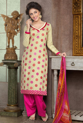 Hypnotex Cream Pure Cotton Anarkali Salwar Kameez Aarti 7342A