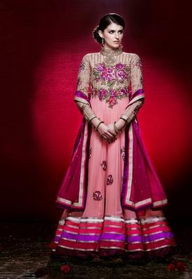 Hypnotex Peach Georgette Semi Stitch Dress material Rajwadi 305