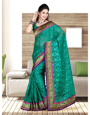 Dealtz Fashion Nett Hand Work Butta Patch Saree