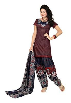 Dealtz Fashion Maroon Cotton Printed Salwar Kameez - Dress Material