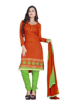 Dealtz Fashion Orange Colored Chanderi Silk Embroidered Unstitched Salwar Kameez