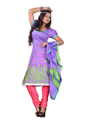Dealtz Fashion Light Purple Colored Chanderi Silk Embroidered Unstitched Salwar Kameez