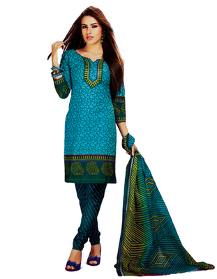 Salwar Studio Blue Cotton Printed unstitched churidar kameez with dupatta MCM-4425