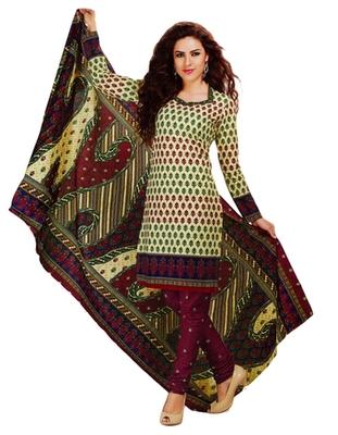 Salwar Studio Beige & Magenta Cotton Printed unstitched churidar kameez with dupatta MCM-4431