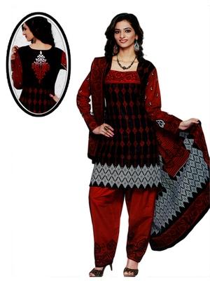 Salwar Studio Red & Black Cotton Printed unstitched churidar kameez with dupatta SD-567