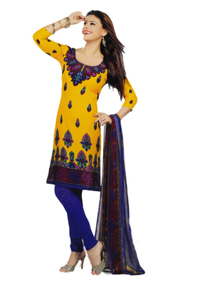 Salwar Studio Mustard & Blue Synthetic Printed unstitched churidar kameez with dupatta Shri-2004