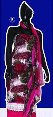 Spun Cotton Lacer Salwar Kameez Churidar Dress Meterial SC1063B