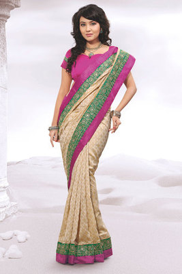 This a Cream and Pink Zari and Patch-patti work Silk Saree