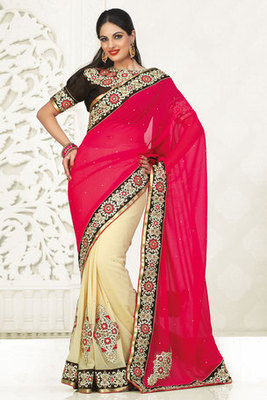 Amazingly Pink and Cream Georgette Half and Half Saree with Resham Stone Work