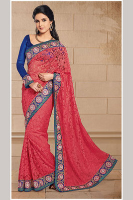 A Zari and Resham Embroidery worked Saree Made of Tissue and Brasso Fabric