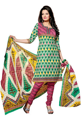 CottonBazaar Green & Pink Colored Cotton Unstitched Salwar Kameez