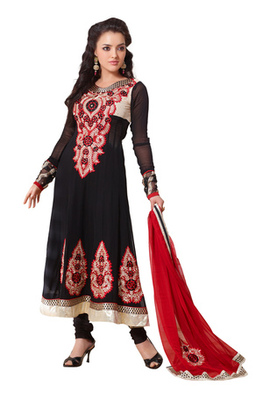 Fabdeal Black Colored Georgette Embroidered Semi-Stitched Salwar Kameez