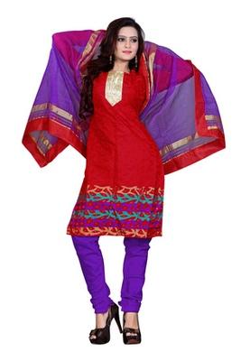 Fabdeal Red Colored Banarasi Silk Printed Un-Stitched Salwar Kameez