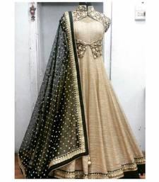Buy Beige embroidered bhagalpuri silk unstitched salwar with dupatta anarkali-salwar-kameez online