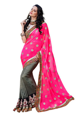 Fabdeal Pink  Colored Georgette Embroidered Saree