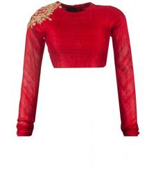 Buy Red raw silk embroidered unstitched blouse fabric blouse-fabric online