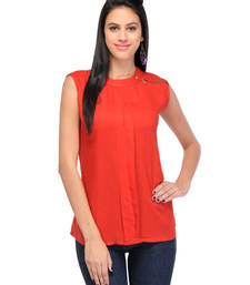 Buy Red rayon tops party-top online
