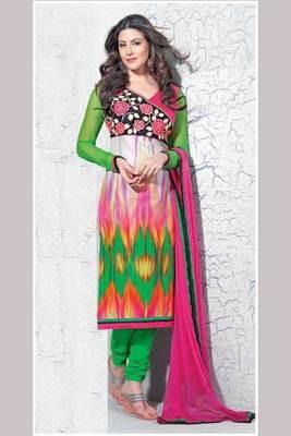 Pink Embroidered Salwar Kameez With Pink Dupatta