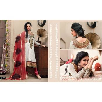 White/Maroon Embroidered Georgette Suit with Dupatta-TBSURIV210