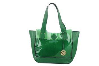 GREEN  PU+TRANSPARENT Textured transparent tote bag - By Dealtz Fashion