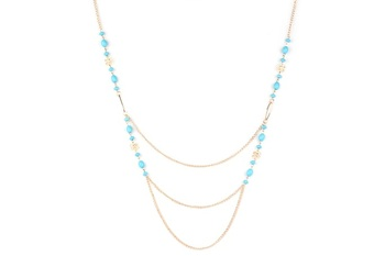 GLD-BLU  METAL Long - 3 fold Nckl…. Overall Beads + Flower - By Dealtz Fashion