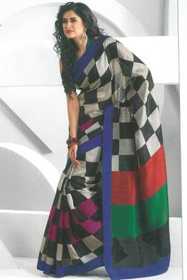 Silver Gray and Red Dupion Silk Printed Casual and Party Saree