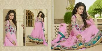 Designer Party Wear Rose Colour Dress