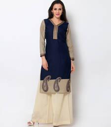 Buy Navy Blue Cotton Embroidered Kurti short-kurtis online