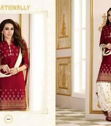 Buy Maroon cotton embroidered semi stitched salwar with dupatta cotton-salwar-kameez online
