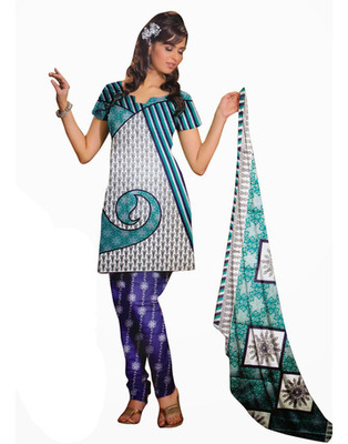 Turquoise Color Cotton Fabric Printed Dress Material